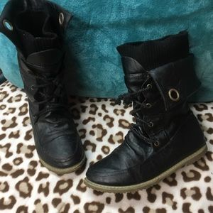 Shoes - Black Lace up Moto booties